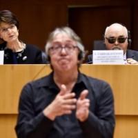 Στιγμιότυπο από τη συνεδρίαση με τον μεταφραστή της νοηματικής