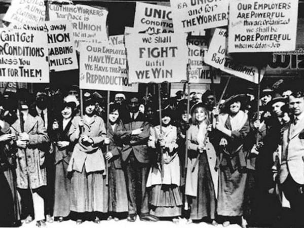 Γυναίκες στη Νέα Υόρκη το 1857 με πανό διαμαρτυρίας
