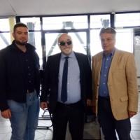 Ο Ι. Βαρδακαστάνης με τον υποψήφιο Δήμαρχο Βόλου, Απ. Παπαδούλη και τον υποψήφιο δημοτικό σύμβουλο, Στ. Δημητριάδη